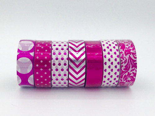 PACKPINK01- Lot de 7 Masking tape foil rose