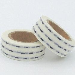 W020-  Masking tape blanc trait noir design  15m
