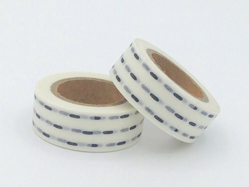 W020-  Masking tape blanc trait noir design  15m