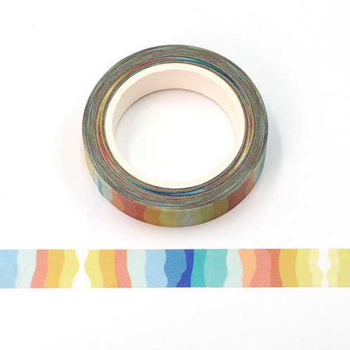 Masking tape 15 mm motif rayures chromatiques