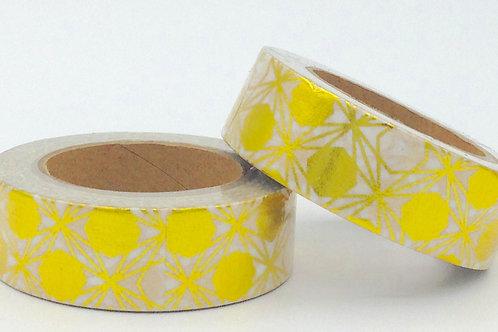F072- Masking tape foil blanc motifs design dorés