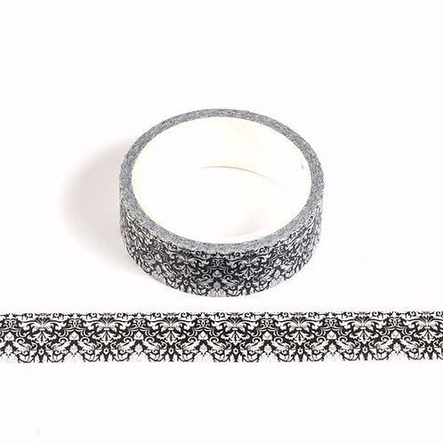 Masking tape dentelle noir & blanc 15mm x  5m