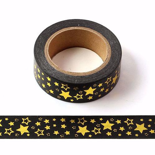 F023- Masking Tape métallique 15mm Noir étoiles dorées