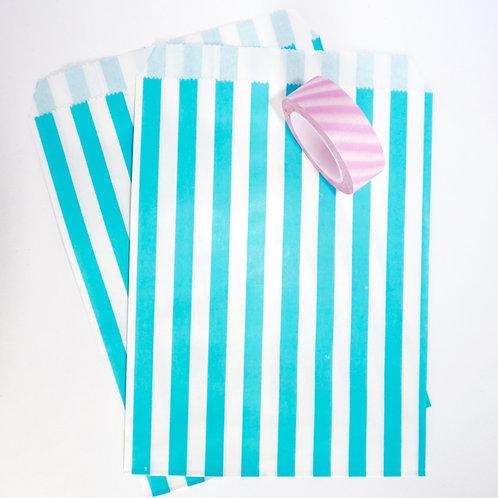 Lot de 12 sachets papiers rayures bleu clair