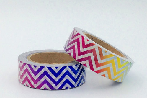 F089- Masking tape foil zig zag arc en ciel multicolores