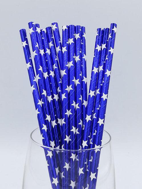 25 pailles papier bleu métallique étoiles blanches