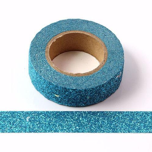 G036 - Masking tape 15mm Paillettes bleues éclats argentés glitter