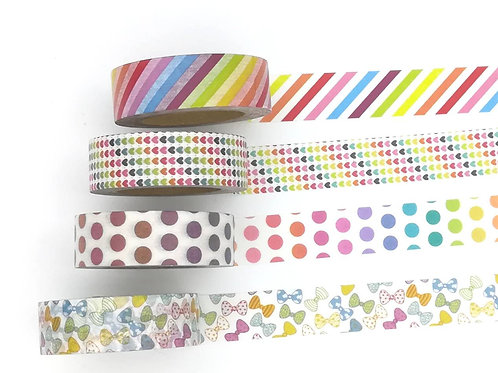 Masking tape arc en ciel coeurs rayures  I Rainbow hearts dots knot washi tapes