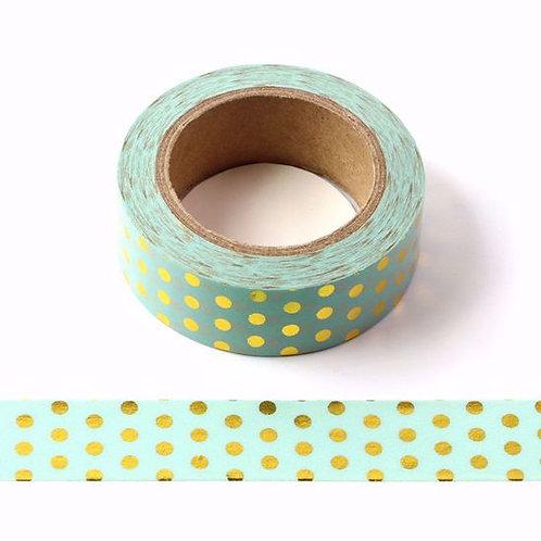 F057 - Masking tape foil métallique 15mm vert pois dorés