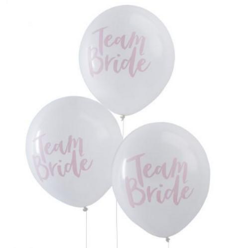 10 Ballons latex blanc Team Bride 30cm  fête soirée evjf mariage