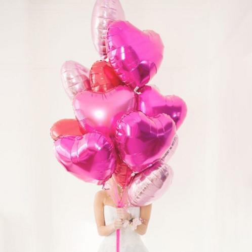 Ballon mylar géant coeur rose, rouge or argent 45 cm