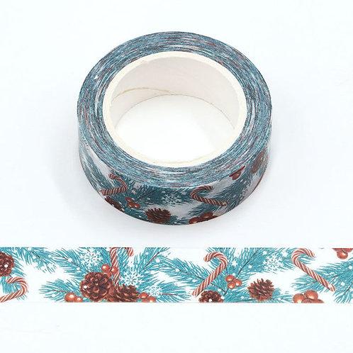 Masking tape  sapin canne à sucre Noël 15mm x 10m