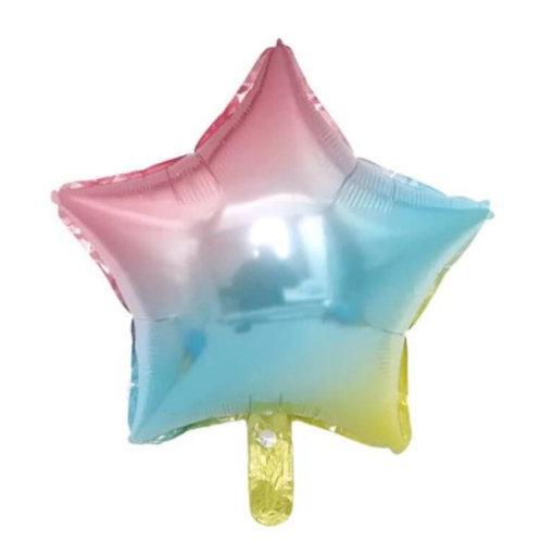 Ballon aluminium étoile  arc en ciel 45 cm - remplissage hélium