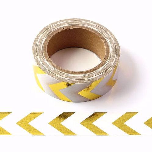 Masking tape foil chevrons dorés métalliques 15mm x 10m
