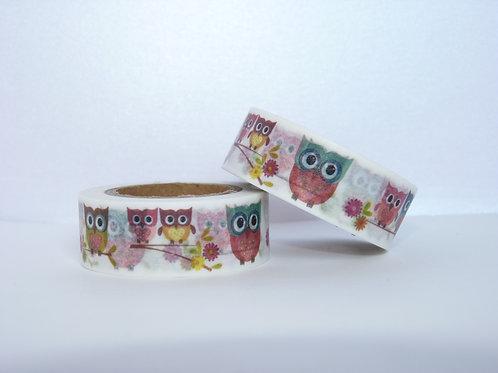 W143 - Masking tape chouettes colorées