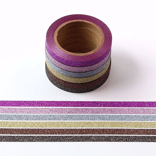 G033 - Lot de 6 Masking tape paillettes 5mm x 10m  glitter