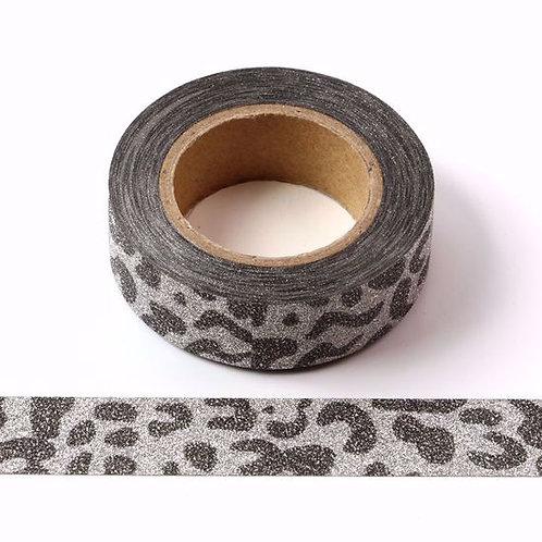 Masking tape paillettes argentées léopard glitter 15MM X 10M
