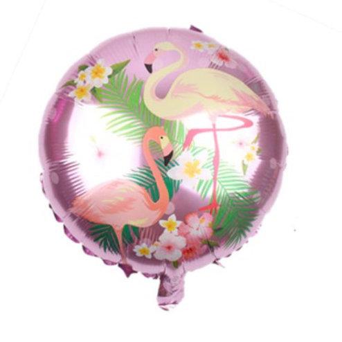 Ballon aluminium rond  Flamant rose fond rose 45cm