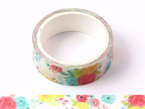 W439 - Masking tape  5m aquarelle florale été