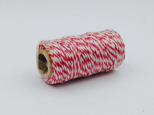 BT005 - Bobine de 20m de Baker's Twine rouge/blanc 12 plis