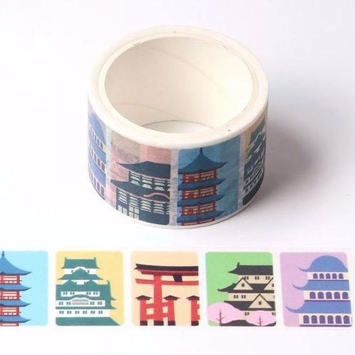 Masking tape  temples japonais colorés 25mm x 3m