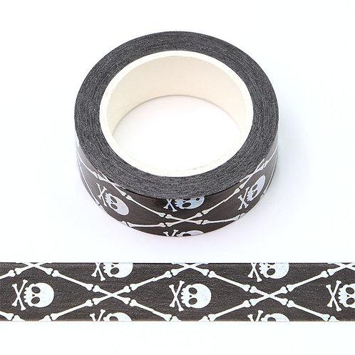 Masking tape  métallique 15 mm motif tête de mort