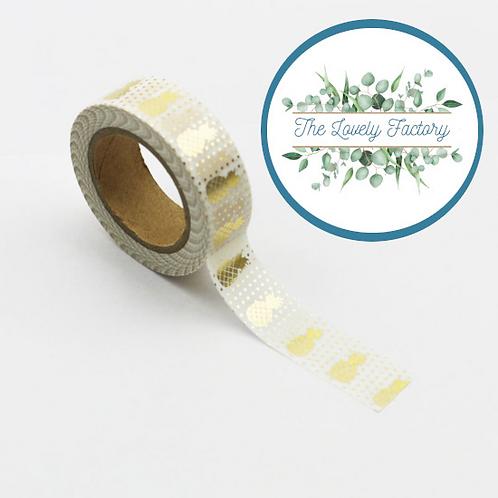 Masking tape Foil Ananas Dorés métalliques 15mm x 10m