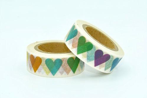 W007 - Masking tape blanc coeurs colorés