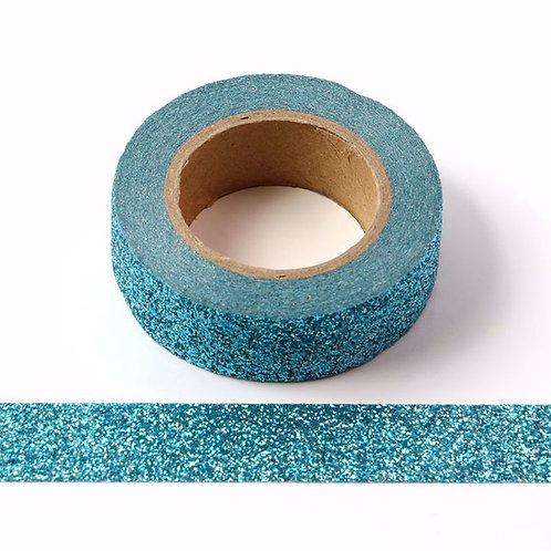 G030 - Masking tape 15mm Paillettes bleu lagon clair glitter