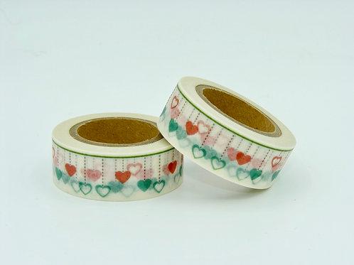 W172 - Masking tape coeurs verts et rouges