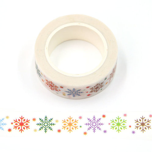 Masking tape 15 mm motif flocons colorés