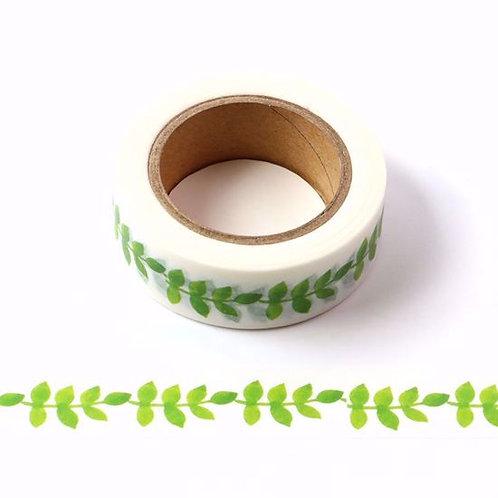 Masking tape feuilles vertes liane 10m x 15mm