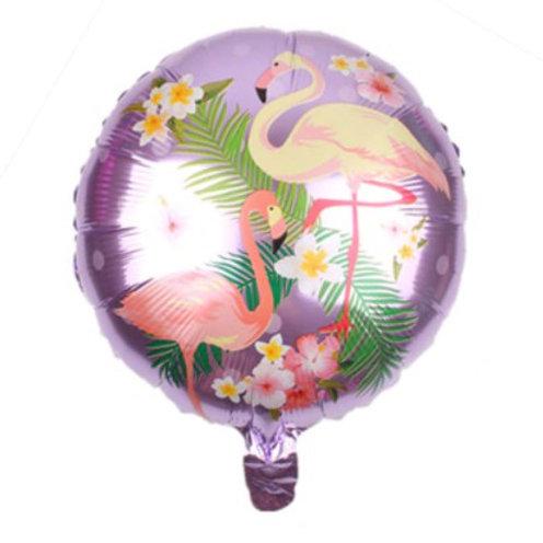 Ballon aluminium rond  Flamant rose fond violet