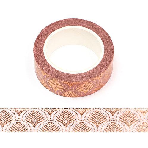 Masking tape  métallique 15 mm motif fleurs de palmier dorée