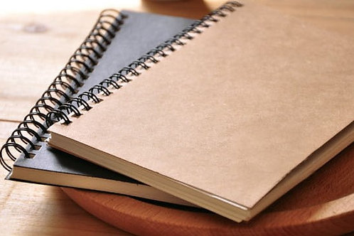 Carnet A5 spirale 100 pages feuilles, papier 100g, couverture kraft