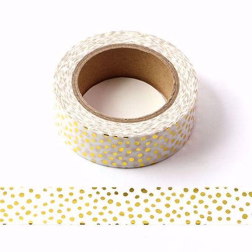 Masking tape foil pois dorés métalliques 15mm x 10m