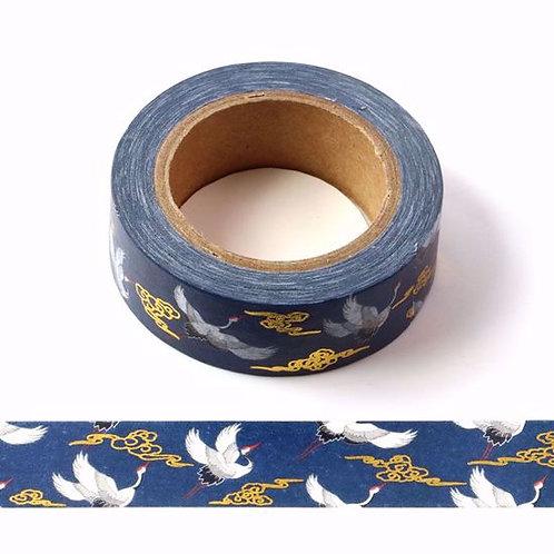 Masking tape métallique bleu grue à col rouge 10m F148