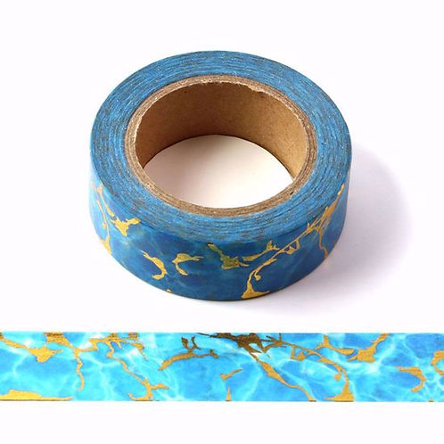 Masking tape métallique bleu marbre or 10m F145