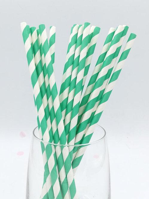 25 pailles papier rayures vertes