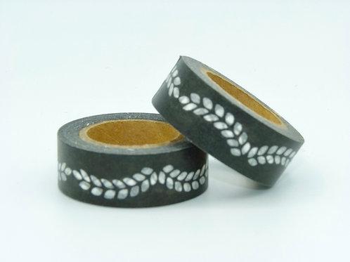 W019 - Masking tape noir lauriers blancs