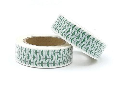 W392-  Masking tape feuilles vertes I green pattern  washi tape