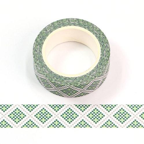 W574 - Masking tape 15 mm motif mosaïque verte
