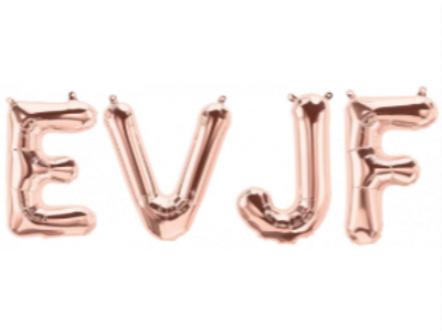 Bannière de ballons EVJF or, rose gold et argent