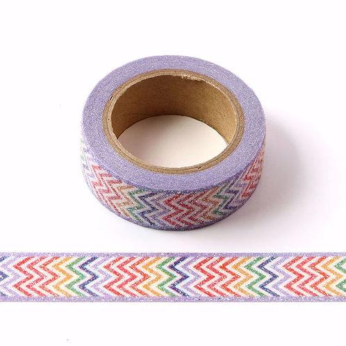 Masking tape paillettes chevrons arc en ciel  glitter 15mm x 5m