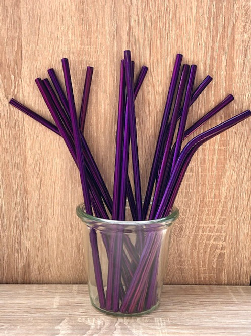 4 Pailles inox Violet 21 cm, courbées ou droites, zéro déchet