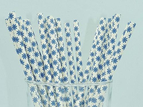 25 pailles papier flocon bleus  anniversaire garçon candy