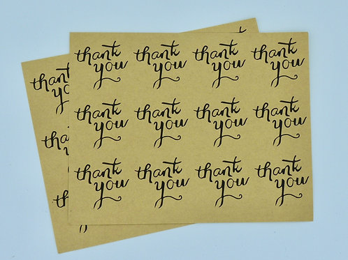 TY03 - 24 stickers Thank you Merci rond kraft noir