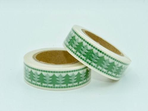 Masking tape blanc sapins verts