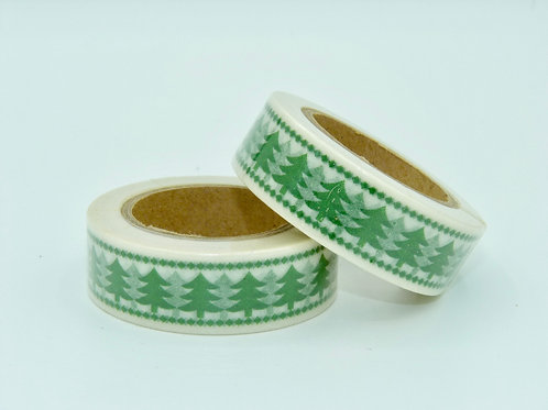 Masking tape blanc sapins verts design  15mm x 10m