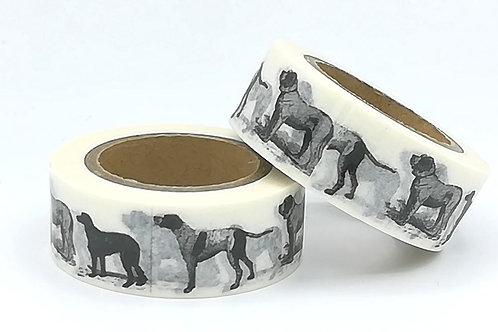 W322 - Masking tape chien Noir et blanc